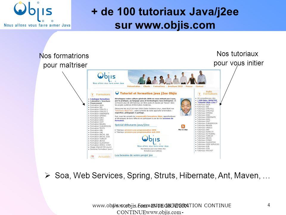 www.objis.com - INTEGRATION CONTINUEwww.objis.com - Formation SPRING + de 100 tutoriaux Java/j2ee sur www.objis.com 4 www.objis.com - Formation INTEGR