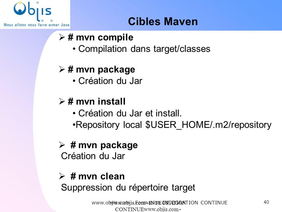 www.objis.com - INTEGRATION CONTINUEwww.objis.com - Formation SPRING Cibles Maven # mvn compile Compilation dans target/classes # mvn package Création