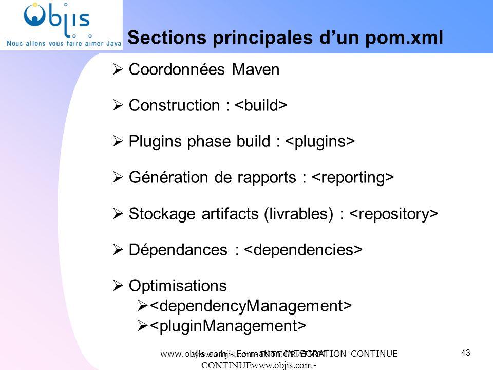 www.objis.com - INTEGRATION CONTINUEwww.objis.com - Formation SPRING Sections principales dun pom.xml Coordonnées Maven Construction : Plugins phase b