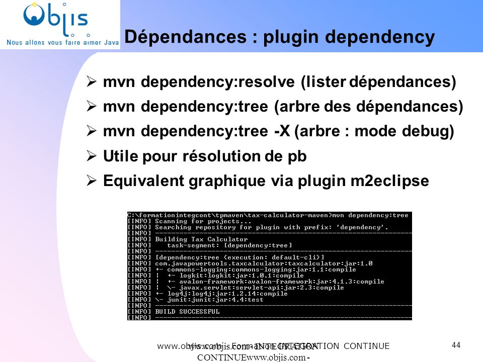 www.objis.com - INTEGRATION CONTINUEwww.objis.com - Formation SPRING Dépendances : plugin dependency www.objis.com - Formation INTEGRATION CONTINUE mv