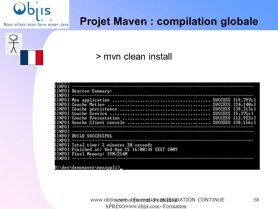 www.objis.com - Formation SPRINGwww.objis.com - Formation SPRING Projet Maven : compilation globale 58 > mvn clean install www.objis.com - Formation I