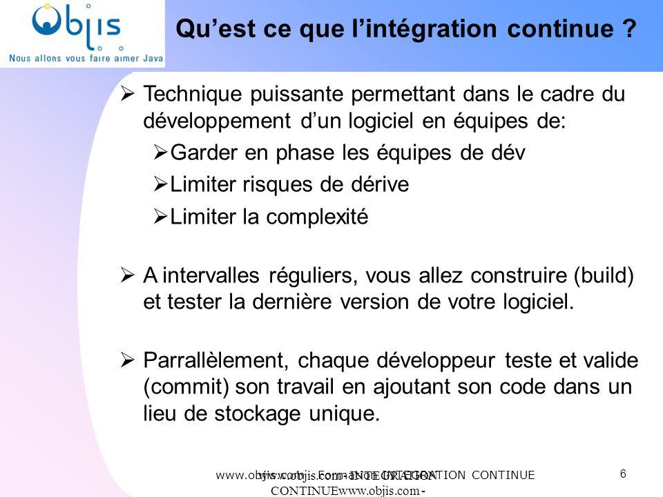 www.objis.com - INTEGRATION CONTINUEwww.objis.com - Formation SPRING Quest ce que lintégration continue ? Technique puissante permettant dans le cadre