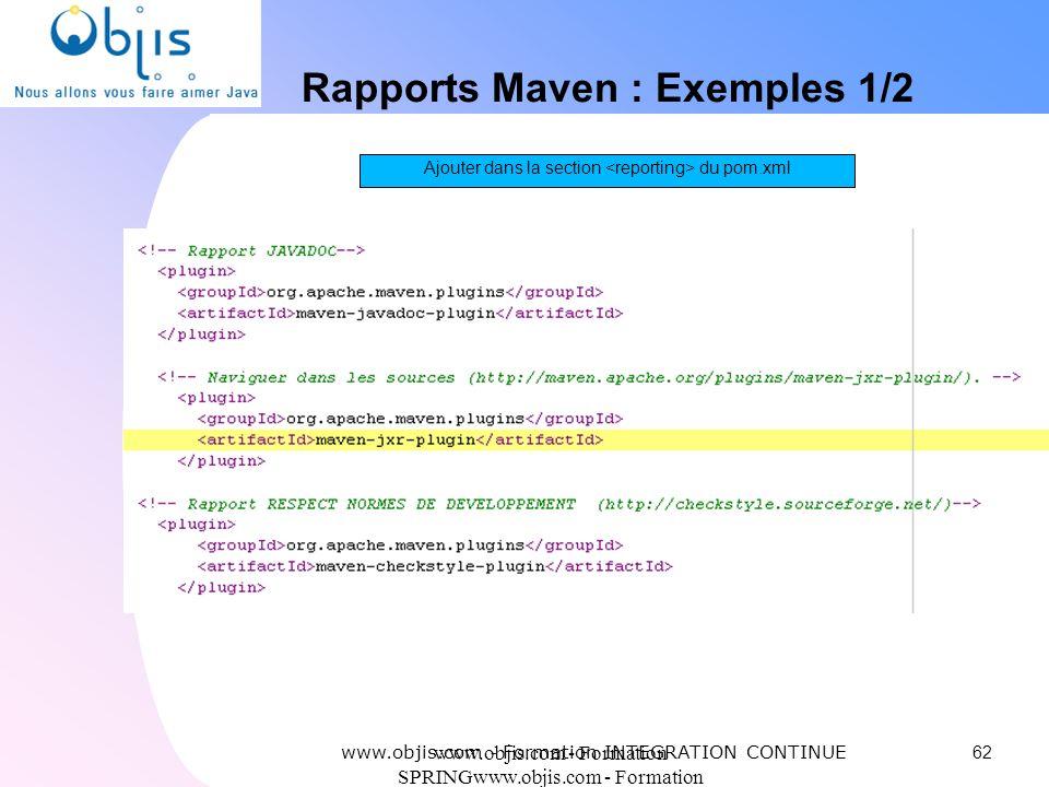 www.objis.com - Formation SPRINGwww.objis.com - Formation SPRING Rapports Maven : Exemples 1/2 62 www.objis.com - Formation INTEGRATION CONTINUE Ajout