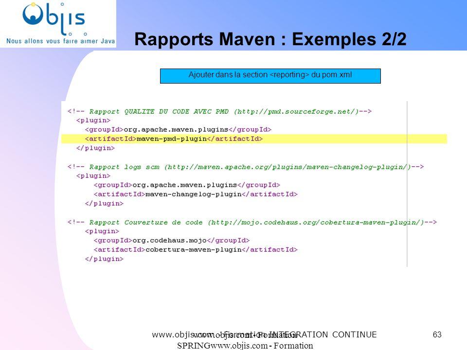 www.objis.com - Formation SPRINGwww.objis.com - Formation SPRING Rapports Maven : Exemples 2/2 63 www.objis.com - Formation INTEGRATION CONTINUE Ajout