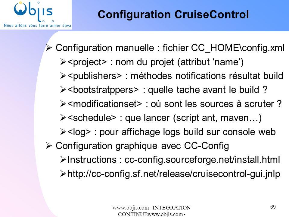 www.objis.com - INTEGRATION CONTINUEwww.objis.com - Formation SPRING Configuration CruiseControl Configuration manuelle : fichier CC_HOME\config.xml :