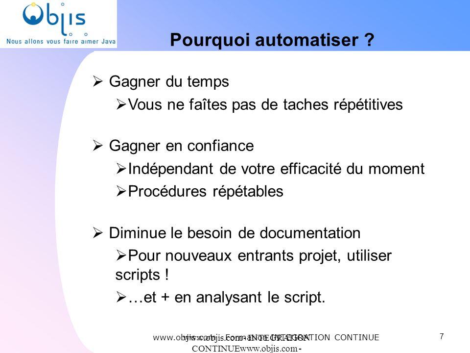 www.objis.com - INTEGRATION CONTINUEwww.objis.com - Formation SPRING Pourquoi automatiser ? Gagner du temps Vous ne faîtes pas de taches répétitives G