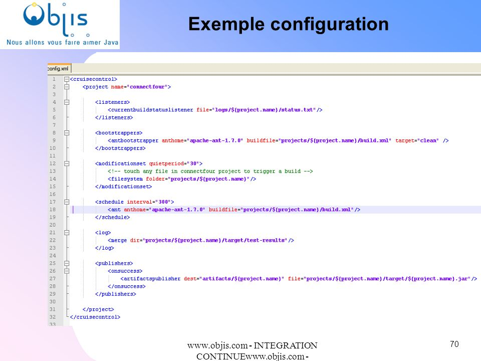 www.objis.com - INTEGRATION CONTINUEwww.objis.com - Formation SPRING Exemple configuration 70