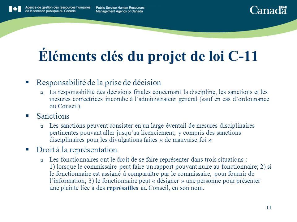 11 Éléments clés du projet de loi C-11 Responsabilité de la prise de décision La responsabilité des décisions finales concernant la discipline, les sanctions et les mesures correctrices incombe à ladministrateur général (sauf en cas dordonnance du Conseil).