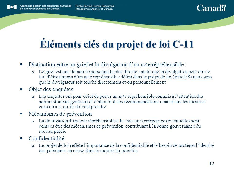 12 Éléments clés du projet de loi C-11 Distinction entre un grief et la divulgation dun acte répréhensible : Le grief est une démarche personnelle plu