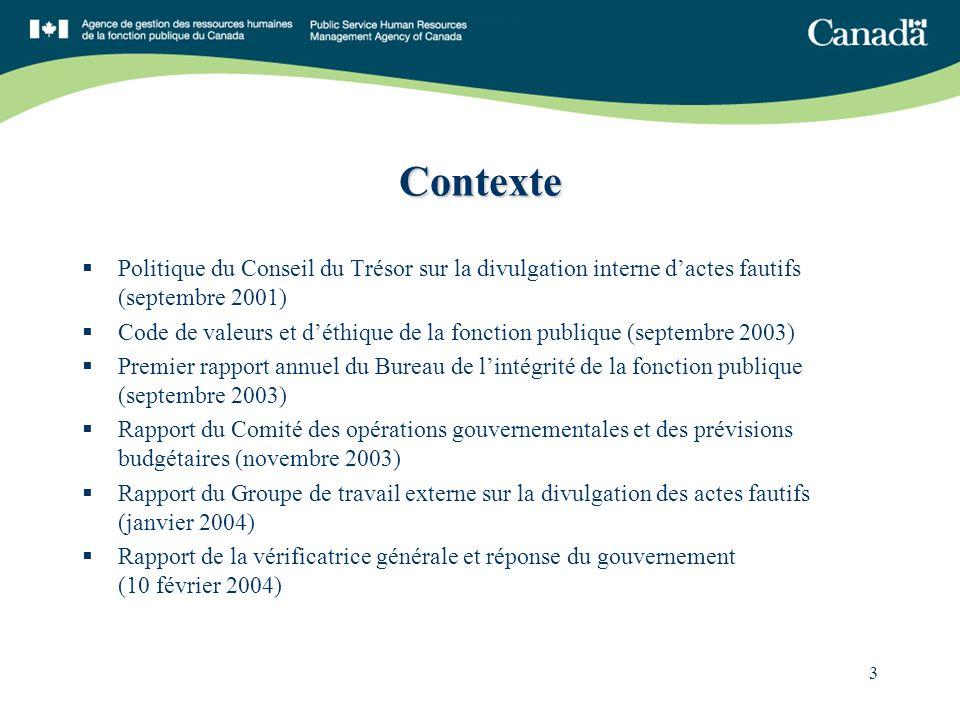 3 Contexte Politique du Conseil du Trésor sur la divulgation interne dactes fautifs (septembre 2001) Code de valeurs et déthique de la fonction publiq