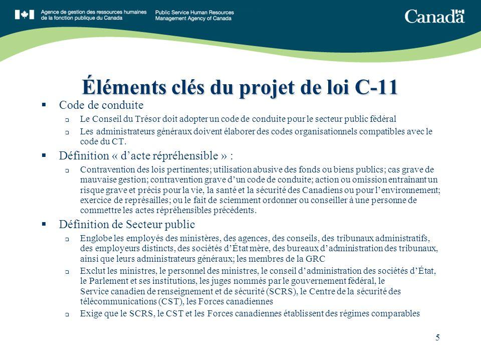 5 Éléments clés du projet de loi C-11 Code de conduite Le Conseil du Trésor doit adopter un code de conduite pour le secteur public fédéral Les administrateurs généraux doivent élaborer des codes organisationnels compatibles avec le code du CT.
