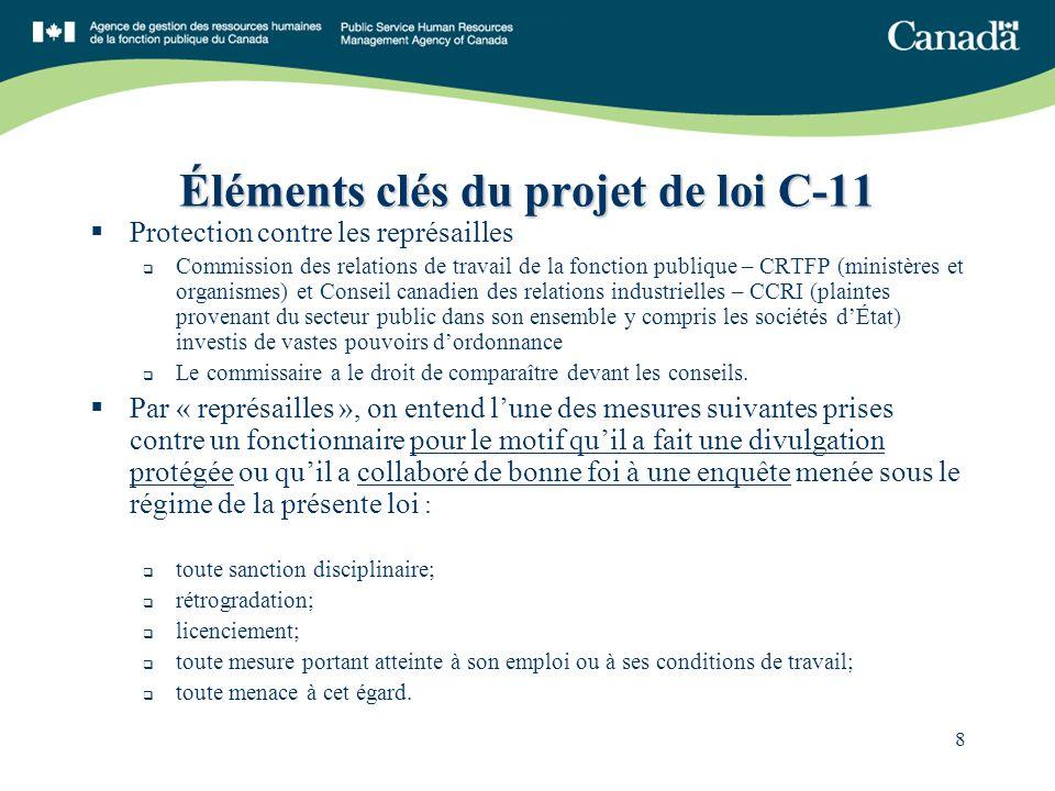 8 Éléments clés du projet de loi C-11 Protection contre les représailles Commission des relations de travail de la fonction publique – CRTFP (ministèr