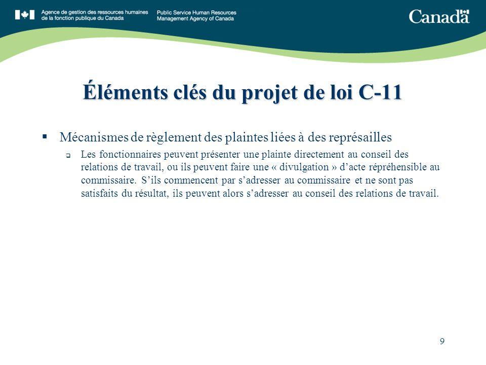 9 Éléments clés du projet de loi C-11 Mécanismes de règlement des plaintes liées à des représailles Les fonctionnaires peuvent présenter une plainte directement au conseil des relations de travail, ou ils peuvent faire une « divulgation » dacte répréhensible au commissaire.