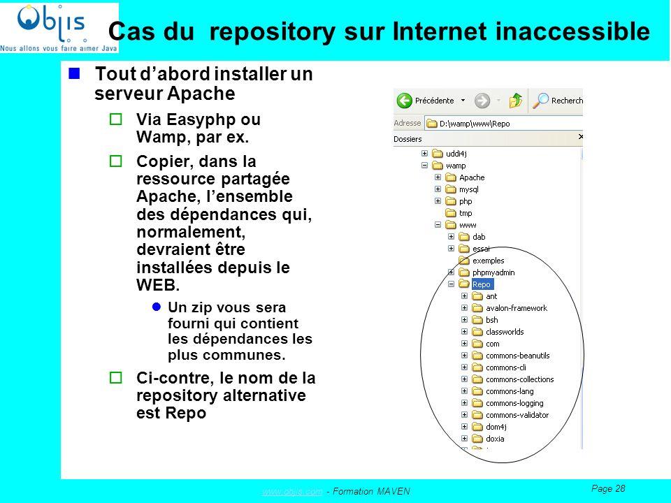 www.objis.comwww.objis.com - Formation MAVEN Page 28 Cas du repository sur Internet inaccessible Tout dabord installer un serveur Apache Via Easyphp ou Wamp, par ex.