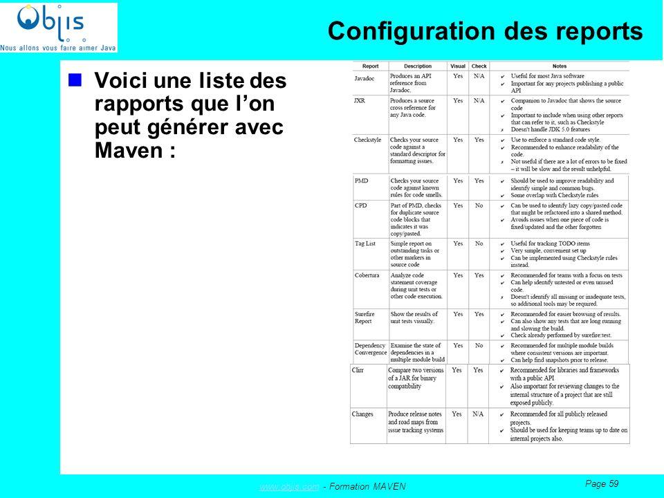 www.objis.comwww.objis.com - Formation MAVEN Page 59 Configuration des reports Voici une liste des rapports que lon peut générer avec Maven :