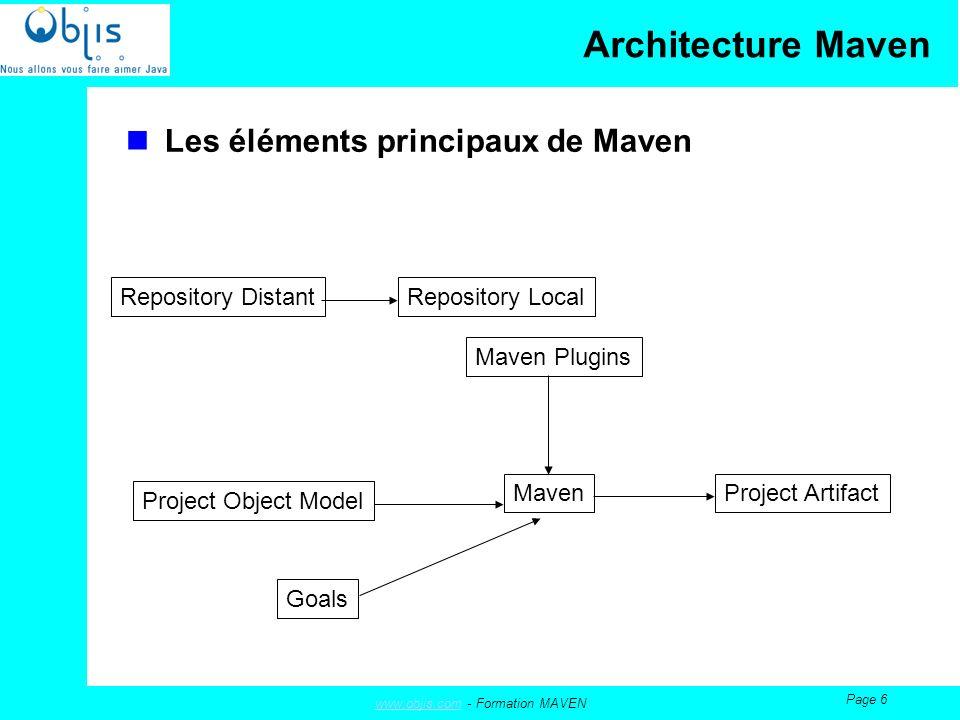 www.objis.comwww.objis.com - Formation MAVEN Page 27 Création de votre premier projet Maven Un fichier est important dans linstallation de Maven, il sagit de settings.xml, qui va contenir les éléments de proxy pour pouvoir accéder au repository central, qui est, dans le cas standard, sur internet et sur ibiblio Dans le cas où le repository central nest pâs accessible (pas de connexion, etc…), il va falloir : Soit avoir dans le repository local tous les artefacts nécessaires (copie) Soit avoir, par ex, un serveur Apache qui va contenir l ensemble des artefacts nécessaires.