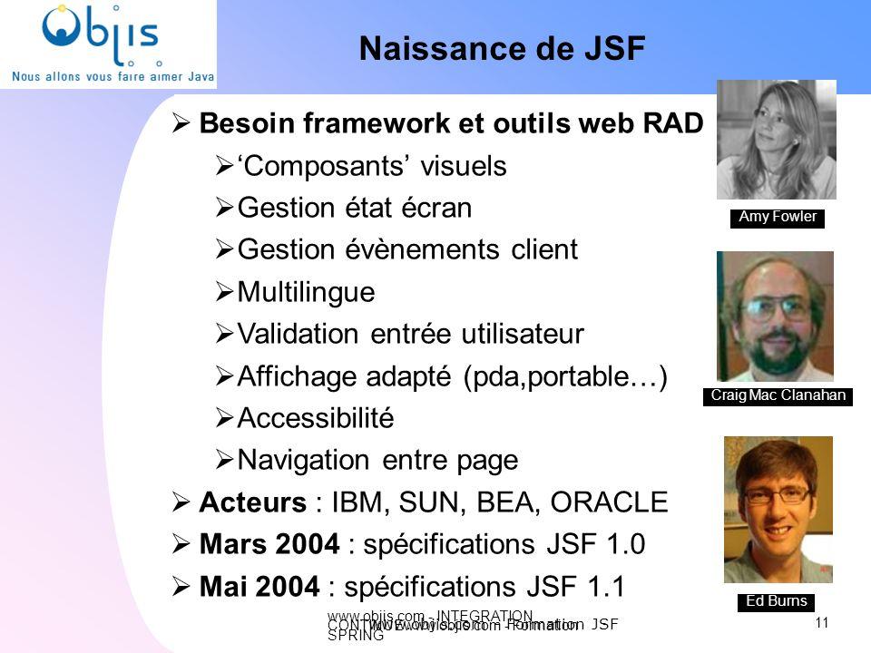 www.objis.com - INTEGRATION CONTINUEwww.objis.com - Formation SPRING Naissance de JSF Besoin framework et outils web RAD Composants visuels Gestion ét