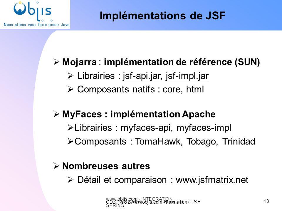 www.objis.com - INTEGRATION CONTINUEwww.objis.com - Formation SPRING Implémentations de JSF Mojarra : implémentation de référence (SUN) Librairies : j