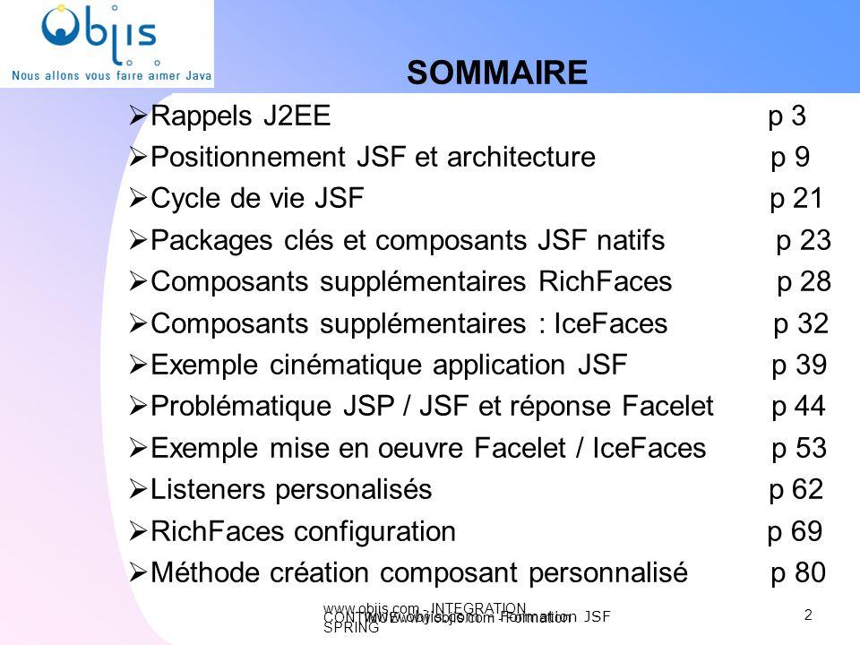 www.objis.com - INTEGRATION CONTINUEwww.objis.com - Formation SPRING Intégration JSP / JSF Objectifs différents JSP : html + java / traitement de haut en bas JSF : composants / traitement évènementiel Cycle de vie différent JSP Java html JSF : cycle de requête précis (6 étapes) Etapes gestion composant JSF création + gestion entrée + rendu Etapes composant JSF dans JSP En parrallèle : création & rendu Ajout de conenu dans la page par JSF & JSP En parallèle : création & rendu .