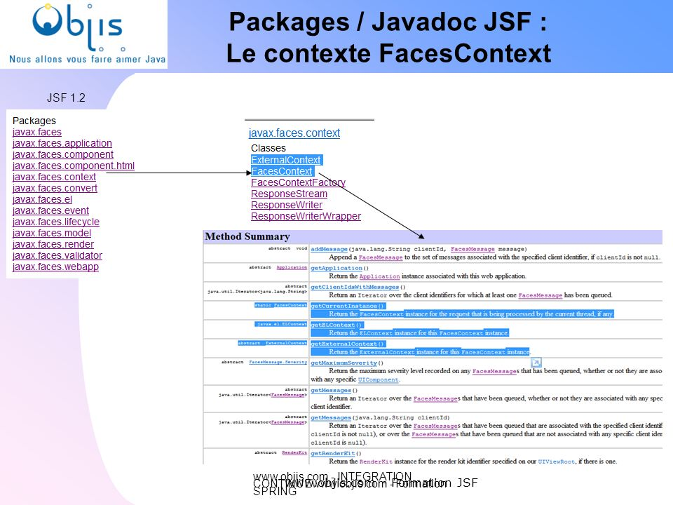 www.objis.com - INTEGRATION CONTINUEwww.objis.com - Formation SPRING Packages / Javadoc JSF : Le contexte FacesContext www.objis.com - Formation JSF J