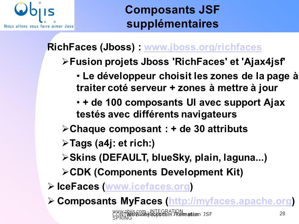 www.objis.com - INTEGRATION CONTINUEwww.objis.com - Formation SPRING Composants JSF supplémentaires RichFaces (Jboss) : www.jboss.org/richfaceswww.jbo