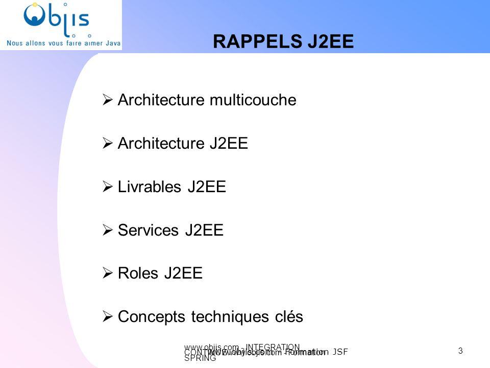 www.objis.com - INTEGRATION CONTINUEwww.objis.com - Formation SPRING RAPPELS J2EE Architecture multicouche Architecture J2EE Livrables J2EE Services J