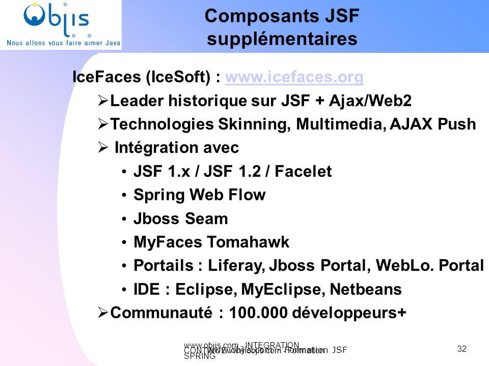 www.objis.com - INTEGRATION CONTINUEwww.objis.com - Formation SPRING Composants JSF supplémentaires IceFaces (IceSoft) : www.icefaces.orgwww.icefaces.