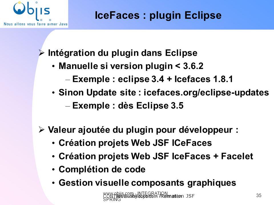 www.objis.com - INTEGRATION CONTINUEwww.objis.com - Formation SPRING IceFaces : plugin Eclipse Intégration du plugin dans Eclipse Manuelle si version