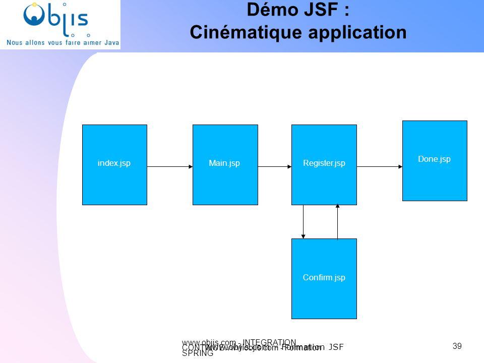 www.objis.com - INTEGRATION CONTINUEwww.objis.com - Formation SPRING Démo JSF : Cinématique application 39 www.objis.com - Formation JSF index.jspMain