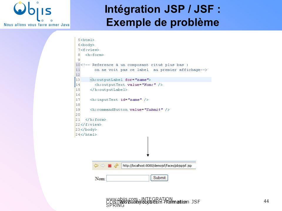 www.objis.com - INTEGRATION CONTINUEwww.objis.com - Formation SPRING Intégration JSP / JSF : Exemple de problème 44 www.objis.com - Formation JSF
