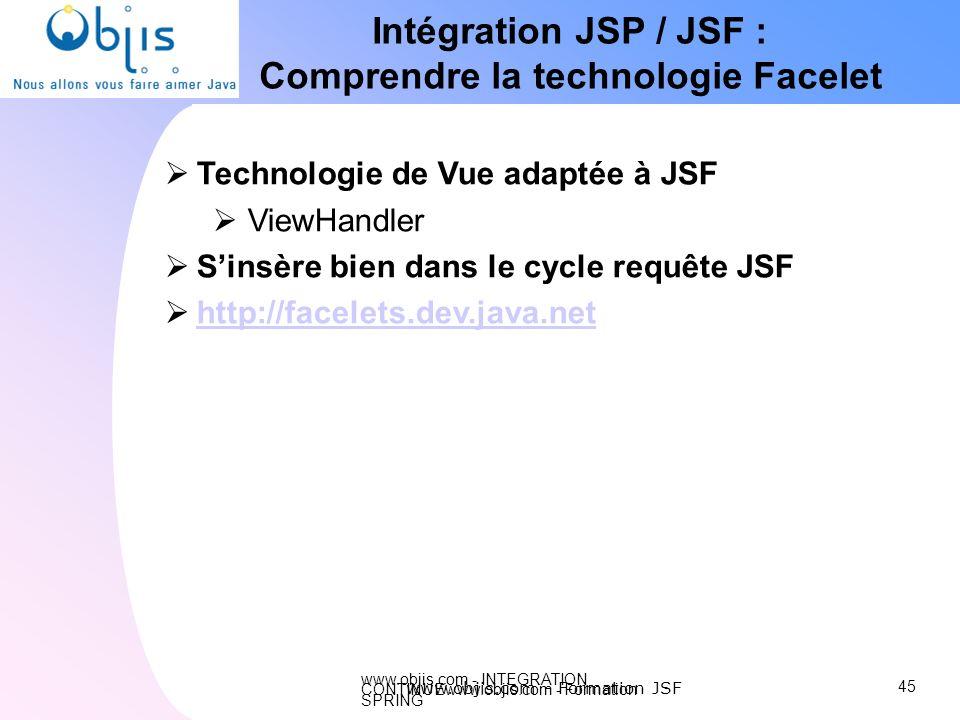 www.objis.com - INTEGRATION CONTINUEwww.objis.com - Formation SPRING Intégration JSP / JSF : Comprendre la technologie Facelet 45 www.objis.com - Form