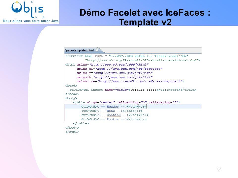 Démo Facelet avec IceFaces : Template v2 54