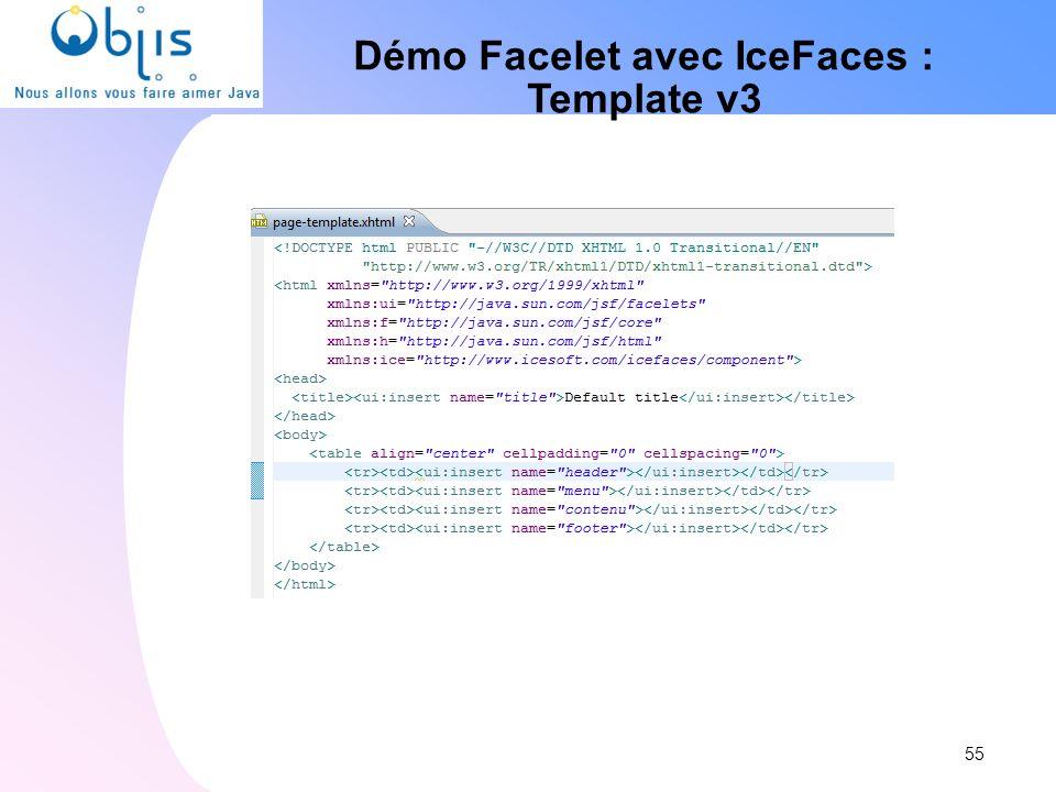 Démo Facelet avec IceFaces : Template v3 55