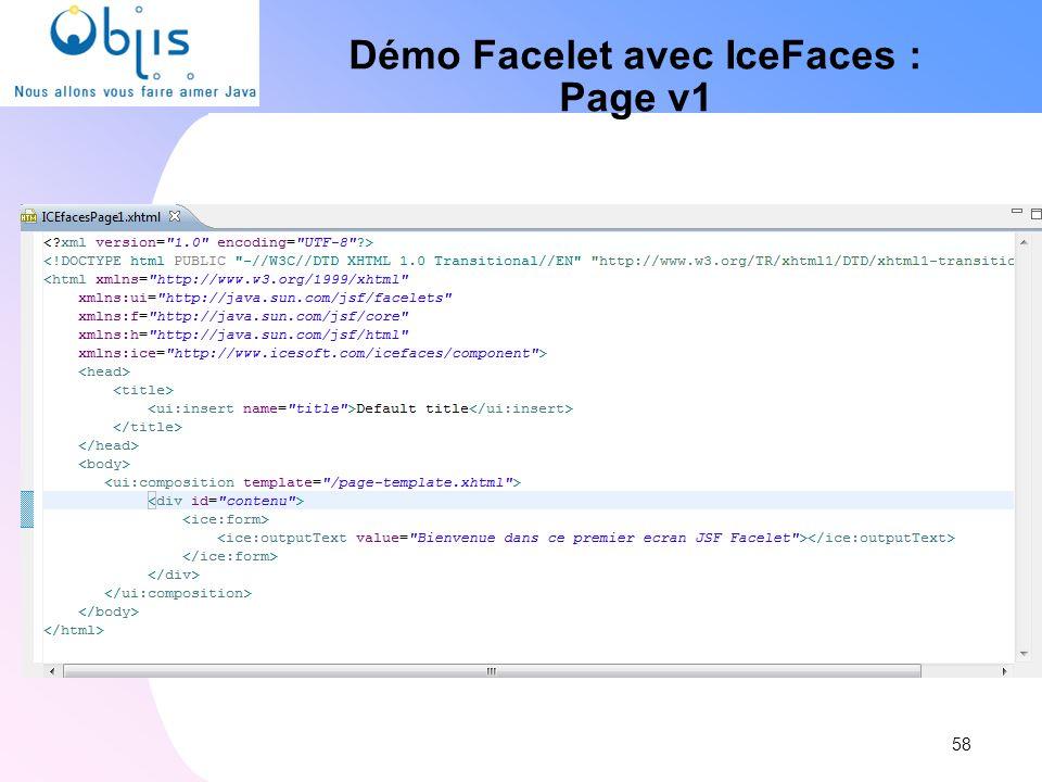Démo Facelet avec IceFaces : Page v1 58