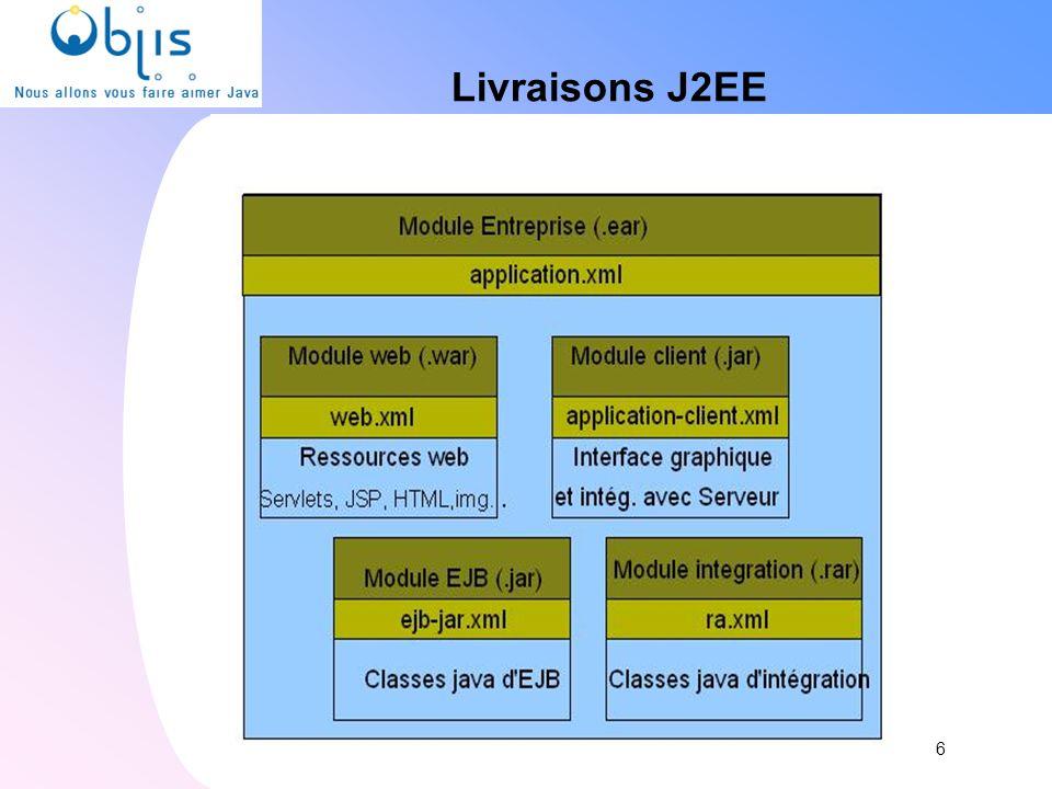 Services J2EE JNDI : Java Naming Directory Interface JCA : Java Connector Architecture JTA : Java Transaction API JPA : Java Persistence API JMS : Java Message Service JAAS : Java Authentication & Authorisation Service JAX-WS : Java API for XML Web Services JAXB : Java API for XML Binding 7