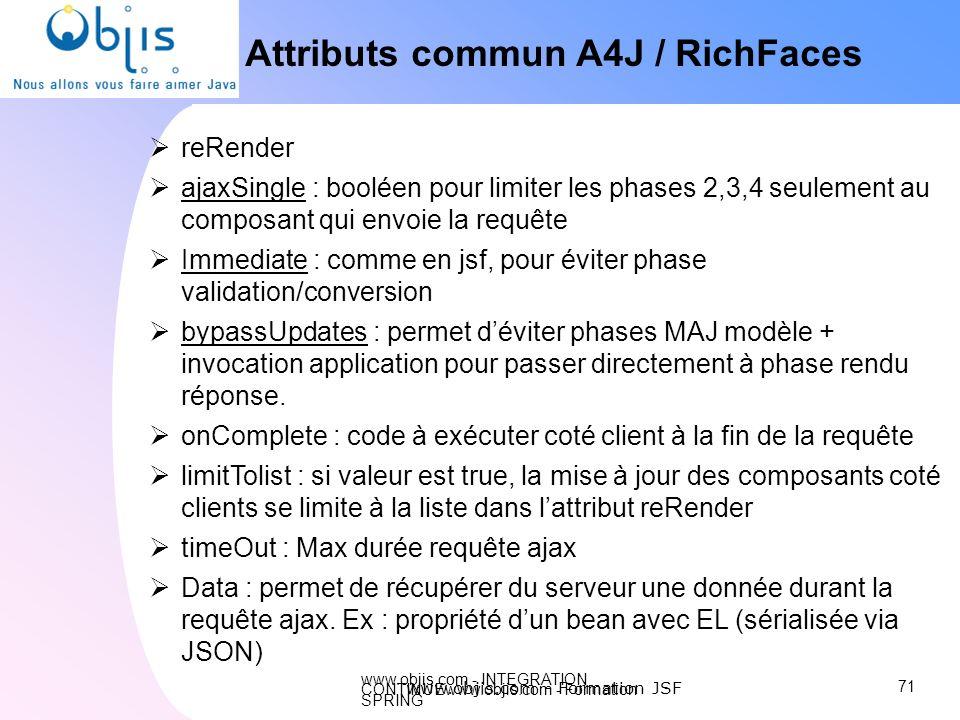 www.objis.com - INTEGRATION CONTINUEwww.objis.com - Formation SPRING Attributs commun A4J / RichFaces reRender ajaxSingle : booléen pour limiter les p