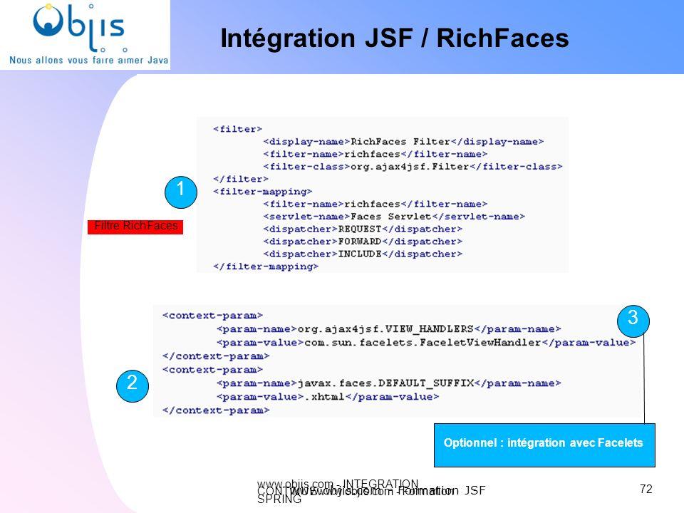www.objis.com - INTEGRATION CONTINUEwww.objis.com - Formation SPRING Intégration JSF / RichFaces 72 www.objis.com - Formation JSF 1 2 3 Optionnel : in
