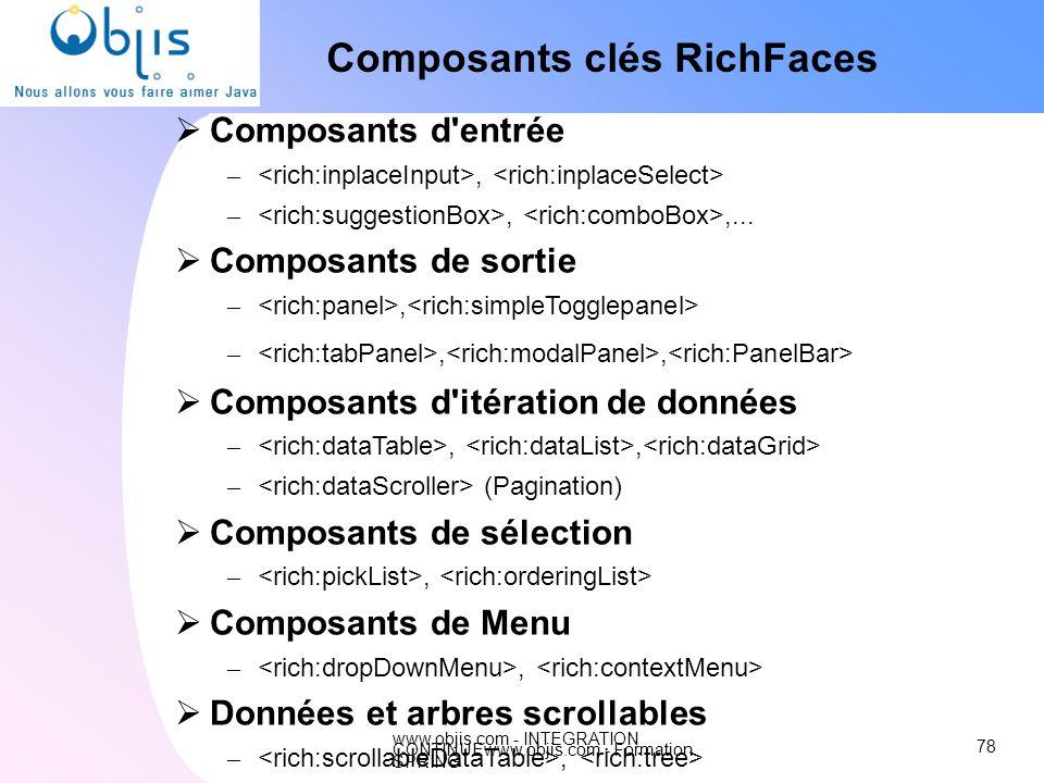 www.objis.com - INTEGRATION CONTINUEwww.objis.com - Formation SPRING Composants clés RichFaces 78 Composants d'entrée –, –,,... Composants de sortie –