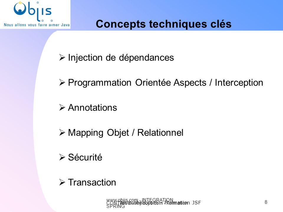 www.objis.com - INTEGRATION CONTINUEwww.objis.com - Formation SPRING Concepts techniques clés Injection de dépendances Programmation Orientée Aspects