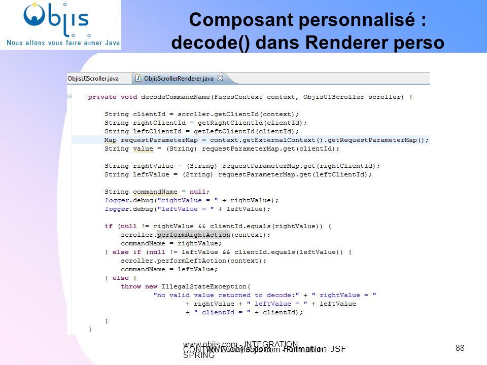 www.objis.com - INTEGRATION CONTINUEwww.objis.com - Formation SPRING Composant personnalisé : decode() dans Renderer perso 88 www.objis.com - Formatio