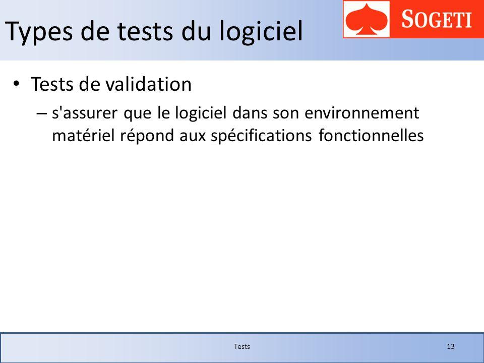 Types de tests du logiciel Tests de validation – s'assurer que le logiciel dans son environnement matériel répond aux spécifications fonctionnelles Te
