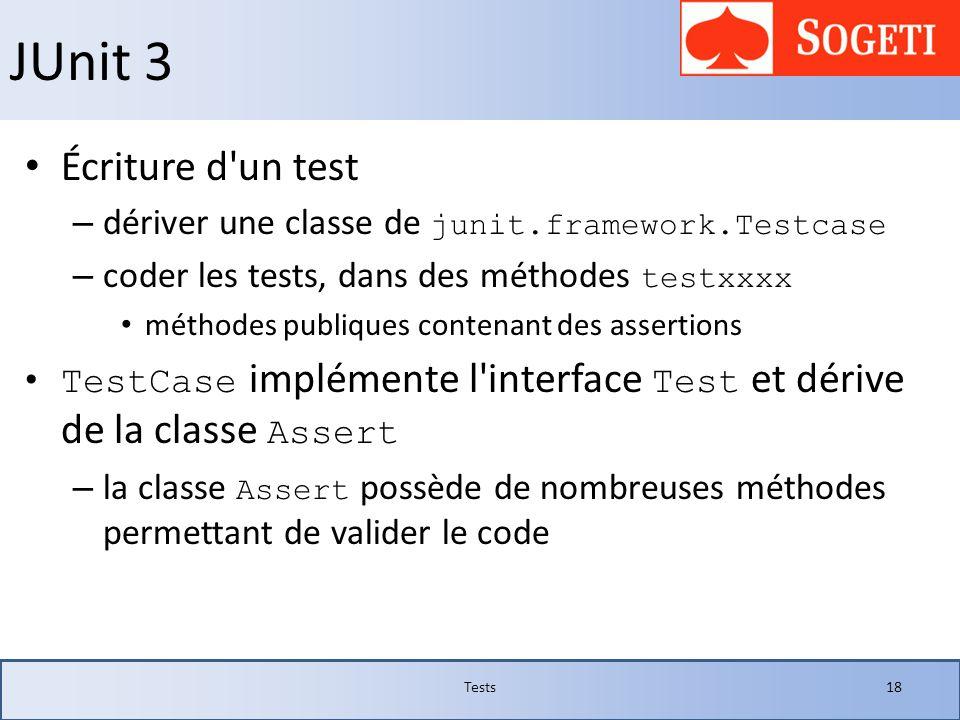 JUnit 3 Écriture d'un test – dériver une classe de junit.framework.Testcase – coder les tests, dans des méthodes testxxxx méthodes publiques contenant