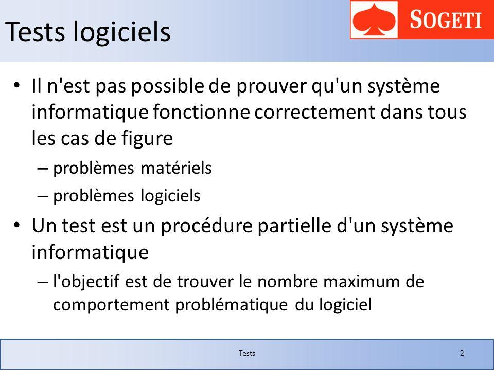 Tests logiciels Il n'est pas possible de prouver qu'un système informatique fonctionne correctement dans tous les cas de figure – problèmes matériels