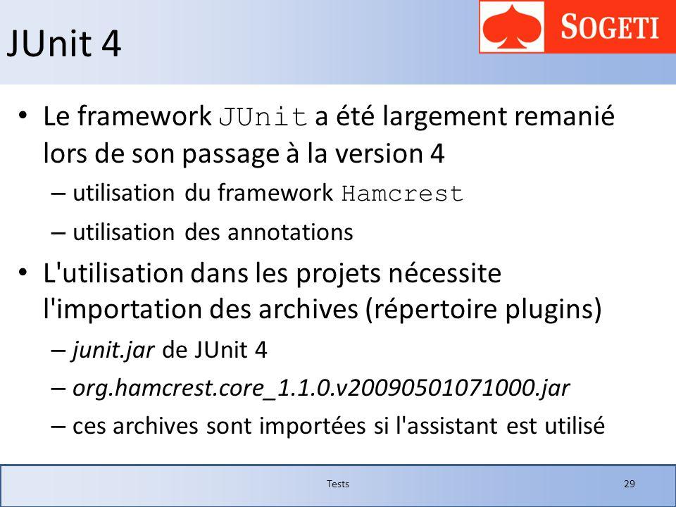 JUnit 4 Le framework JUnit a été largement remanié lors de son passage à la version 4 – utilisation du framework Hamcrest – utilisation des annotation