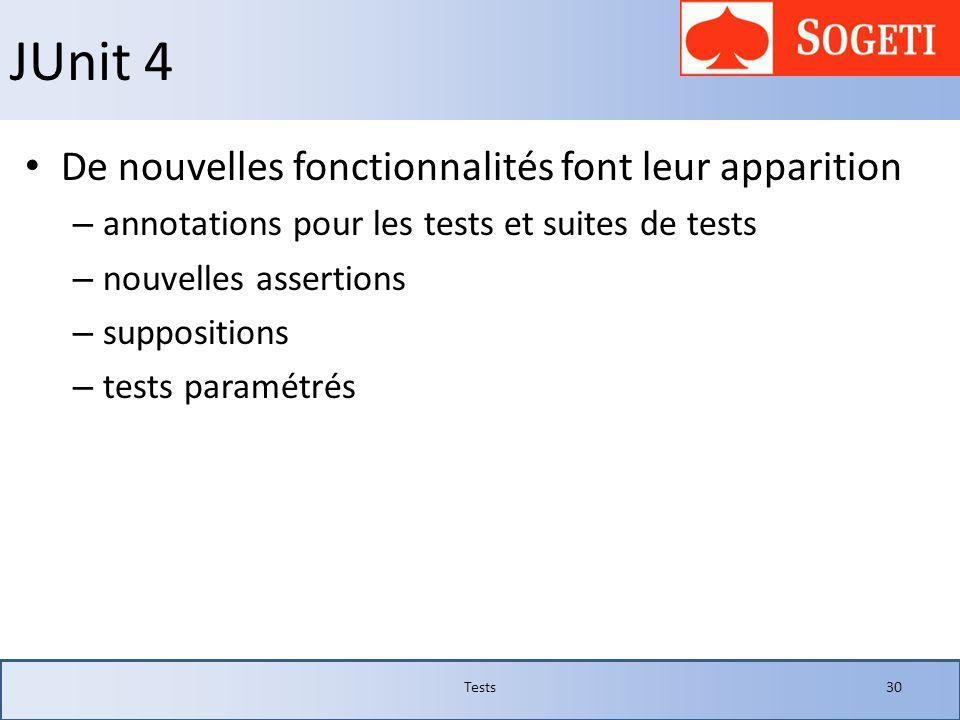JUnit 4 De nouvelles fonctionnalités font leur apparition – annotations pour les tests et suites de tests – nouvelles assertions – suppositions – test