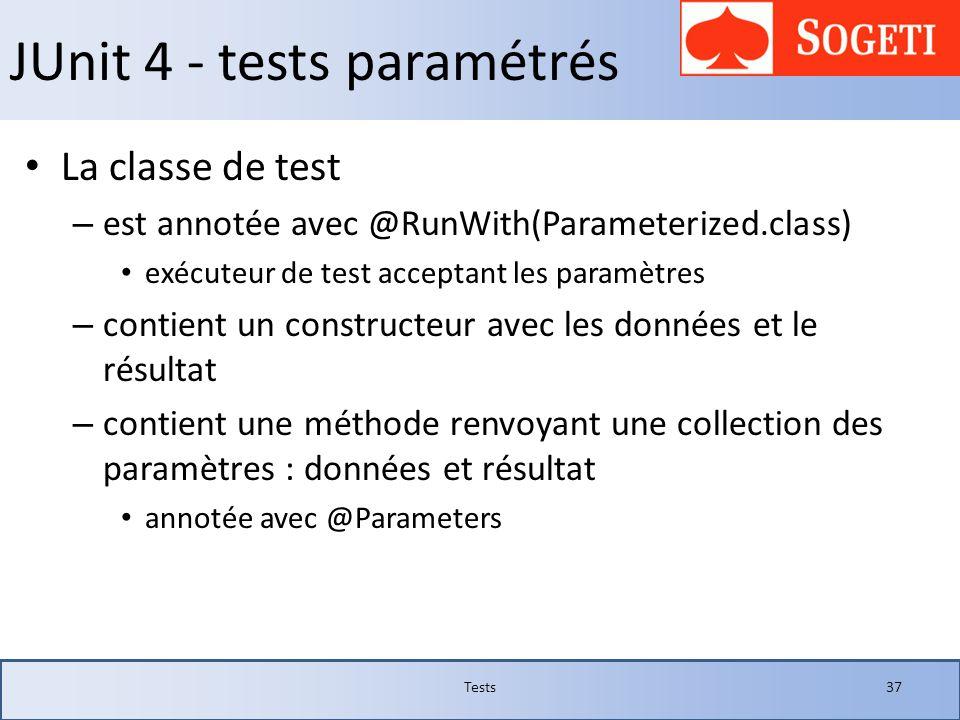 JUnit 4 - tests paramétrés La classe de test – est annotée avec @RunWith(Parameterized.class) exécuteur de test acceptant les paramètres – contient un