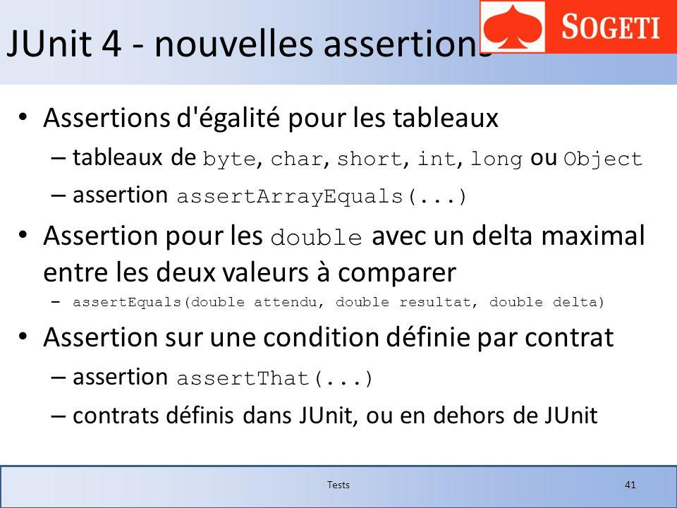 JUnit 4 - nouvelles assertions Assertions d'égalité pour les tableaux – tableaux de byte, char, short, int, long ou Object – assertion assertArrayEqua