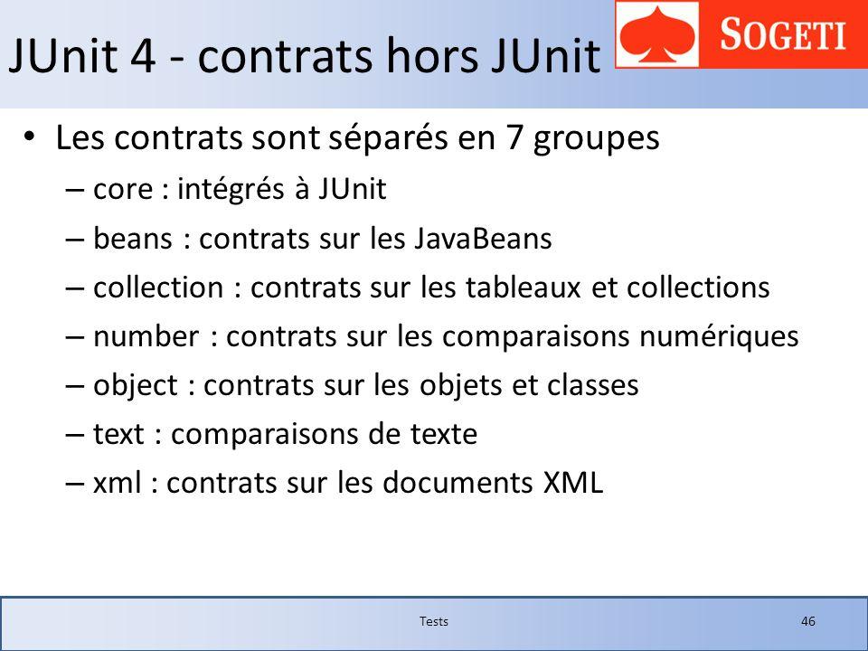 JUnit 4 - contrats hors JUnit Les contrats sont séparés en 7 groupes – core : intégrés à JUnit – beans : contrats sur les JavaBeans – collection : con