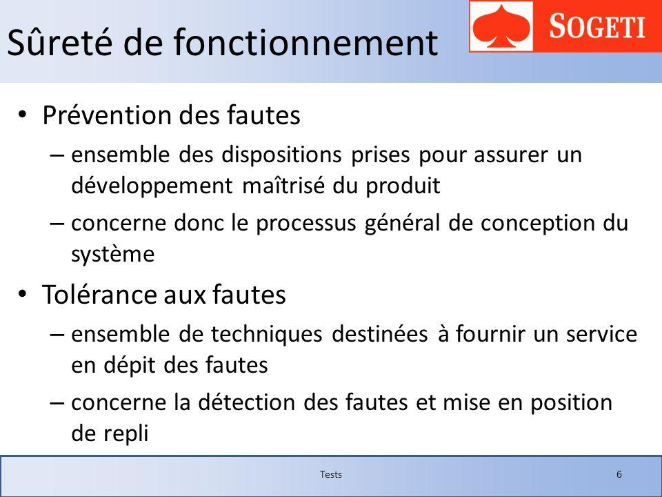 Sûreté de fonctionnement Prévention des fautes – ensemble des dispositions prises pour assurer un développement maîtrisé du produit – concerne donc le