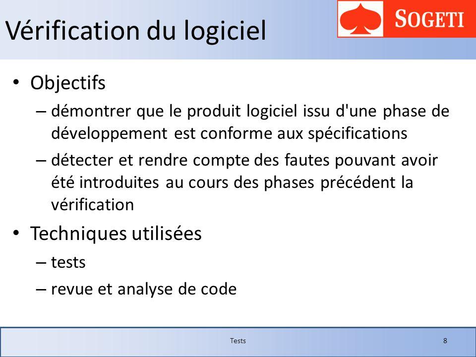 Vérification du logiciel Objectifs – démontrer que le produit logiciel issu d'une phase de développement est conforme aux spécifications – détecter et